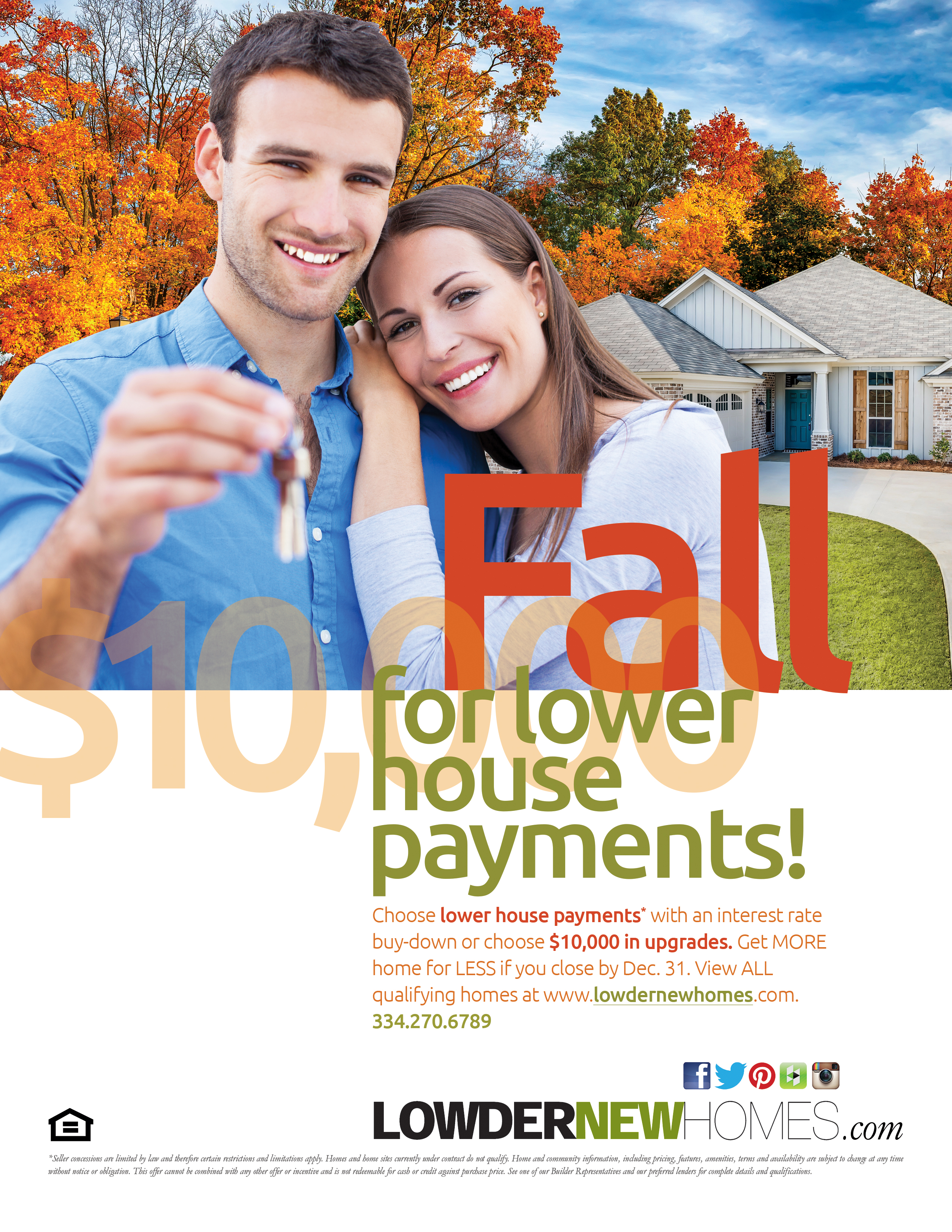 Promotional Flyer for Lowder New Homes Fall Sale